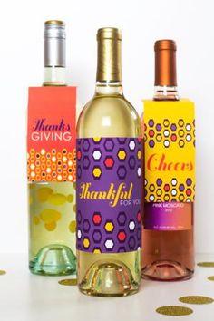 10 DIY Thanksgiving Printables: wine bottle labels, pumpkin pie slice box, leftovers bag, napkin ring, gift tags, art, garland, cupcake toppers