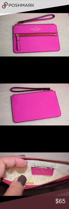 """🎈Pink Kate Spade Wristlet Great way to start your Kate Spade collection! Kate Spade Mikas Pond Bee wristlet in Vivid Snapdragon. Crosshatched leather with smooth leather trim, jacquard lining. 14-karat gold plated hardware. Zip top closure with exterior zipper pocket. 4""""h x 6.5""""w kate spade Accessories Key & Card Holders"""