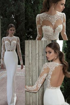 2016 Wedding Dresses Scoop Long Sleeves With Sash Sweep Train Backless US$ 279.99 VTOPGZT49KH - VestidoBello.com for mobile