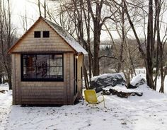 Michael Pollan's writing hut that he built for himself in the woods behind his Connecticut house.