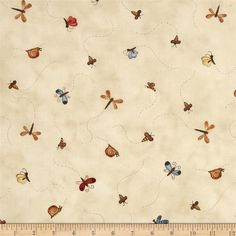 Sew Nice to be Home Insects Multi from @fabricdotcom  Designed by Jacqueline Paton for Red Rooster Fabrics, this cotton print fabric is perfect for quilting, apparel and home decor accents. Colors include brown, dusty blue, brick red, and gold on a cream background.