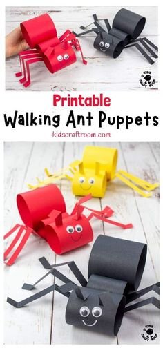 This Walking Ant Craft is sure to delight kids and inspire lots of imaginative play.These ant puppets are easy to make with the printable template and nice and chunky for little hands. Make your paper ant craft move by gently twisting your wrist from side to side. #kidscraftroom #kidscrafts #antcrafts #ants #puppets #puppetcrafts #papercrafts #printablecrafts Ant Crafts, Paper Crafts For Kids, Craft Stick Crafts, Children Crafts, Craft Kids, Mason Jar Crafts, Mason Jar Diy, Printable Crafts, Free Printable