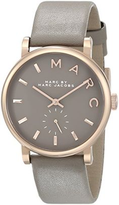 Marc+by+Marc+Jacobs+Women%27s+MBM1266+Baker+Rose-Tone+Stainless+Steel+Watch+with+Grey+Leather+Band