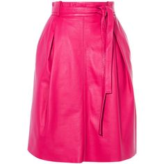 44dfa99e3b Karen Millen Pleated Leather Skirt ($399) ❤ liked on Polyvore featuring  skirts, leather zipper skirt, pink leather skirt, pleated leather skirts,  pink high ...