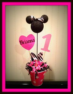 Minnie Mouse Birthday Centerpiece personalized by eryacah on Etsy, $12.00