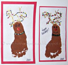 I made these Footprint Reindeer wearing Christmas lights with my daughter's foot as some of our Christmas Cards to family. I put eyelashes on the eyes to make it look a little more on the girlie side. The antlers, red nose, and jingle bells on the collar are made using glitter glue. It would be …