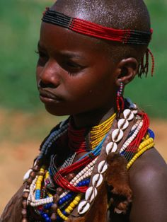 Girl Wearing Traditional Beads, Omo National Park, Ethiopia Photographic Print