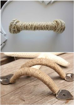 Cover damaged or mis-matched drawer handles with twine or rope for nautical, or just refreshed/cohesive look. PERFECT for the nautical bunk-room. Nautical Bedroom, Nautical Bathrooms, Nautical Theme, Nautical Dresser, Lace Bedroom, Vintage Nautical Decor, Nautical Kitchen, Nautical Interior, Nautical Knots