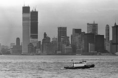 New York City skyline, World Trade Center under construction, ca 1970 / Collection of the 9/11 Memorial Museum, Gift of the Photographer, David Bream
