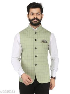 Ethnic Jackets Stylish Cotton Viscous Blend Printed Ethnic Jacket Fabric: Cotton Viscous Blend Sleeves: Sleeves Are Not Included Size: 36 in 38 in 40 in 42 in 44 in (Refer Size Chart) Length: (Refer Size Chart) Type: Stitched Description: It Has 1 Piece of Men's Ethnic Jacket Pattern: Checkered Country of Origin: India Sizes Available: 36, 38, 40, 42, 44, 46 *Proof of Safe Delivery! Click to know on Safety Standards of Delivery Partners- https://ltl.sh/y_nZrAV3  Catalog Rating: ★4.2 (349)  Catalog Name: Men's Stylish Cotton Viscous Blend Printed Ethnic Jackets Vol 1 CatalogID_306072 C66-SC1202 Code: 166-2295283-