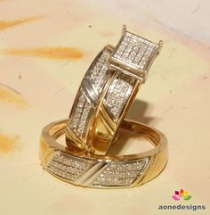 Man's & ladies Trio Set 0.40 Carat(Tdw) Diamond Wedding Bands & Engagement Ring  #aonedesigns