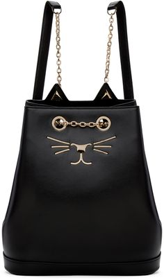 CHARLOTTE OLYMPIA Black Feline Backpack. #charlotteolympia #bags #lining #backpacks #