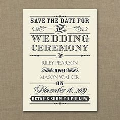 Wedding Day Declaration - Save the Date Card - Ecru 40% Off http://mediaplus.carlsoncraft.com/Wedding/Save-the-Dates/3159-VZSD27618EC-Wedding-Day-Declaration--Save-the-Date--Ecru.pro This is the way to announce your wedding in rustic, country poster style. Fun.