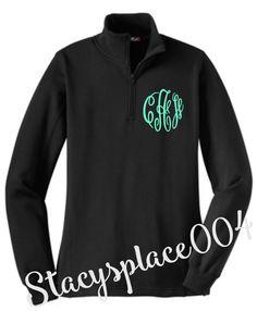 monogrammed sweater, monogrammed 1/4 zip sweater, monogrammed sweatshirt, black