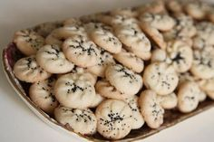 Naan Berenji - Persian rice flour cookies flavored with rose water syrup and cardamom