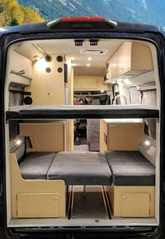 A travel adventure van for four. National & State parks, off-grid boonies, and friend's driveways. Van Conversion Plans, Van Conversion Layout, Van Conversion Interior, Camper Van Conversion Diy, Van Conversion Rear Seats, Van Conversion On A Budget, Ford Transit Camper Conversion, Ford Transit Campervan, Interior Motorhome