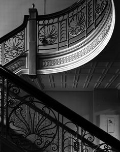 Main stairwell in the administration building at the Harrisburg State Mental Hospital in Pennsylvania.