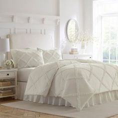 Laura Ashley Adelina Ruffle White Full/queen Duvet Set - A white on white dimensional lattice made of appliqued ruffles can be a pristine design statement on its own or a versatile base for layering and creating your own personal look. Ruffle Comforter, Queen Comforter Sets, King Comforter, Duvet Sets, Cotton Duvet, Queen Duvet, King Duvet Cover Sets, Duvet Covers, White Duvet