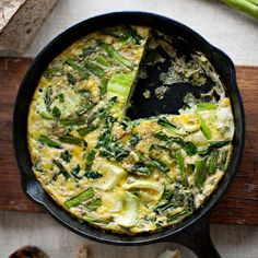 Asparagus and Bok-Choy Frittata | When making an Italian frittata, don't limit yourself to traditional ingredients. The Asian flavors that fill this version offer a real change of pace.