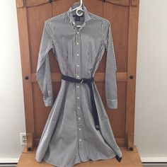 Ralph Lauren Oxford Dress This is a classic dress. Navy blue and white stripes. Comes with belt. Minimal stains on the neckline. Fully lined- line has a few spots on the inside. Exterior of dress is in PERFECT condition. NO trades. Ralph Lauren Dresses