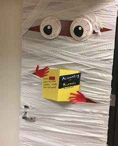 Accounting for Mummies Halloween Door Decoration Halloween Dorm, Halloween Cubicle, Halloween Classroom Door, Halloween Bulletin Boards, Halloween Decorations For Kids, Halloween Activities, Halloween Party Decor, Halloween House, Holidays Halloween