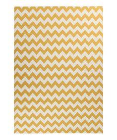 Loving this Golden Yellow & Winter White Frontier Wool Rug on #zulily! #zulilyfinds
