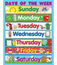 Learning the days of the week is easy when students have a classroom chart! Show students that every day is filled with learning opportunities. The Days of the Week chartlet measures 17 Classroom Charts, Classroom Calendar, Classroom Bulletin Boards, Classroom Posters, Classroom Displays, Preschool Learning, Early Learning, Preschool Activities, Teaching