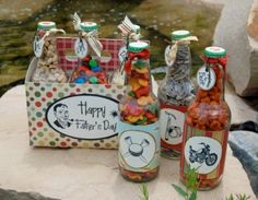 """These Retro soda bottles were created out of an old 6 pack of IBC soda bottles. Take Dad back to a time when """"Father Knew Best"""".   Then Fill each jar with his favorite goodies."""