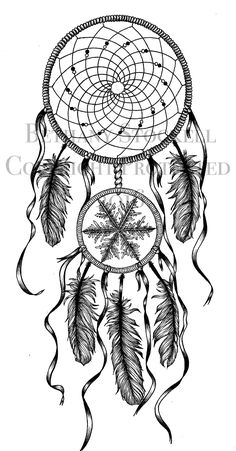 Dreamcatcher Drawing by Bethany Stockell (BLS Designs). All rights reserved.