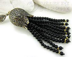 Schwarze Jade Edelstein Perlen Quaste mit antiken Bronze verziert Quast Kappe mit klarem Kristall Strass türkische Quast Anhänger