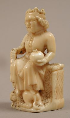Chess Piece of a King, ~1350-1400, Cologne, Germany, Walrus Ivory, Dimensions: 2 1/2 x 1 5/16 x 7/8 in. (6.4 x 3.4 x 2.2 cm)