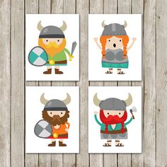 How cute are these little Vikings??? Nursery Prints 4 Instant Downloads Viking by MossAndTwigPrints, $20.00