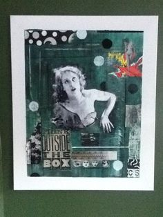 "Tableau-collage sur toile intitulé ""Outside the box"""