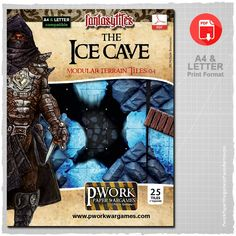 The Ice Cave - Modular Terrain Tiles 04 is a paper-printable set, ideal for Fantasy settings, which includes a lot of modular tiles divided into squares of 2,5x2,5cm – 1x1'' suitable to recreate a frozen dungeon, a cave of rock and ice carved into the depths of a mountain.