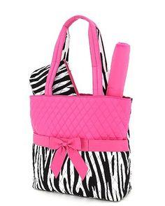pink zebra 3 piece diaper bag
