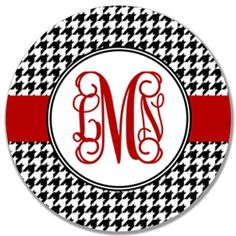 Personalized Melamine Plate-Houndstooth Stripe
