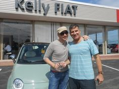 Fabrizio and Geoffrey leave our Kelly FIAT studio with their new FIAT 500 Lounge. #FIAT #Joy