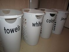 Have your family separate your laundry loads for you with labeled baskets!