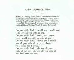Gertrude Stein. Love letter