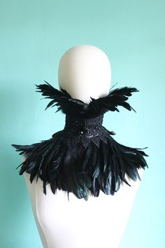 Night Bird Black coque Feather Leather and lace by Mascherina