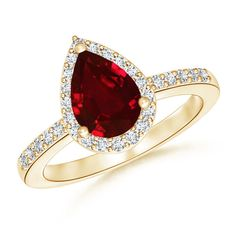 Angara Vintage Leaf Inspired Ruby Solitaire Ring in Platinum UXylKb