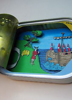 A Ship Just Leaving. Jim Doran creates extremely small paper dioramas inside everyday objects such as Altoid & sardine tins, iPod cases & lip balm jars. These 3-dimensional works conveniently fit in your pocket! http://jimdoran.net/art/