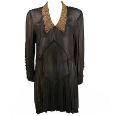 Preowned Michael Morrison Sheer Black Shirt Dress With Heavily... ($395) ❤ liked on Polyvore featuring dresses, black, loose black dress, black shirt dress, sheer sleeve dress, sheer dress and sheer shirt dress
