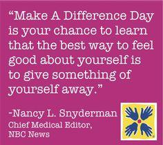 Nancy Snyderman supports #MDDay12!