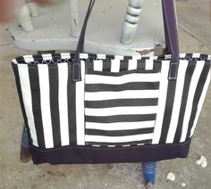 Black and White Stripe Tote, 18 wide x 11 tall, Tote Bag, Office Tote, Bag, Purse, Pocketbook, Stripe Purse, Stripe Tote Bag, Stripe Bag by PandenteDesigns on Etsy