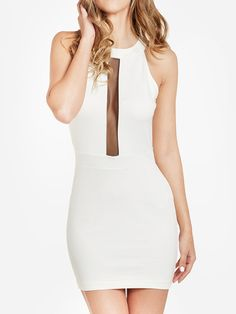 Choies Limited Edition White Bodycon Backless Dress With Mesh Panel | Choies