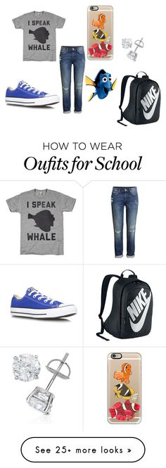"""School Outfit"" by lyfsgud2002 on Polyvore featuring American Apparel, H&M, Converse, Casetify and NIKE"