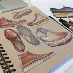 Really feeling Aaron Street& mixing of uncommon perspectives. Even though the proportions are stylized on some of his sketches, I like how clean they look. His marker renderings are nice too. Id Design, Sketch Design, Shoe Sketches, Drawing Sketches, Shoe Drawing, Fashion Drawings, Fashion Illustrations, Sneakers Sketch, Industrial Design Sketch
