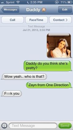 Funny text - Epic fail dad - I don't care about but he does look good as a girl lol. Text Jokes, Funny Text Fails, Funny Text Messages, Text Message Fails, Funny Shit, Funny Posts, Funny Stuff, Text Daddy, Jokes