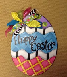 Wooden Easter Egg Door hanger by michelleschulten on Etsy
